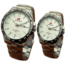 Swiss Army Jam Tangan Couple Stainless Steel Strap Sa 7007W Silver Murah