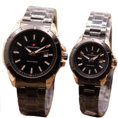 Jual Swiss Army Jam Tangan Couple Stanless Steel Sac 1240 Black Gold Swiss Army Ori