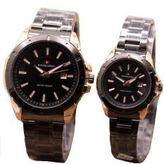 Swiss Army Jam Tangan Couple Stanless Steel Sac 1240 Black Gold Terbaru