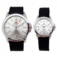 Swiss Army Jam Tangan Couple Strap Kanvas Hitam Sa 5092 Silver Dial Putih Promo Beli 1 Gratis 1