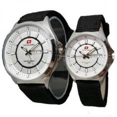 Swiss Army - Jam Tangan Couple - Strap Kanvas - SA 5096 PP hitam putih