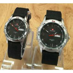 Swiss Army - Jam Tangan Couple - Strap Kanvas - sa6574 black