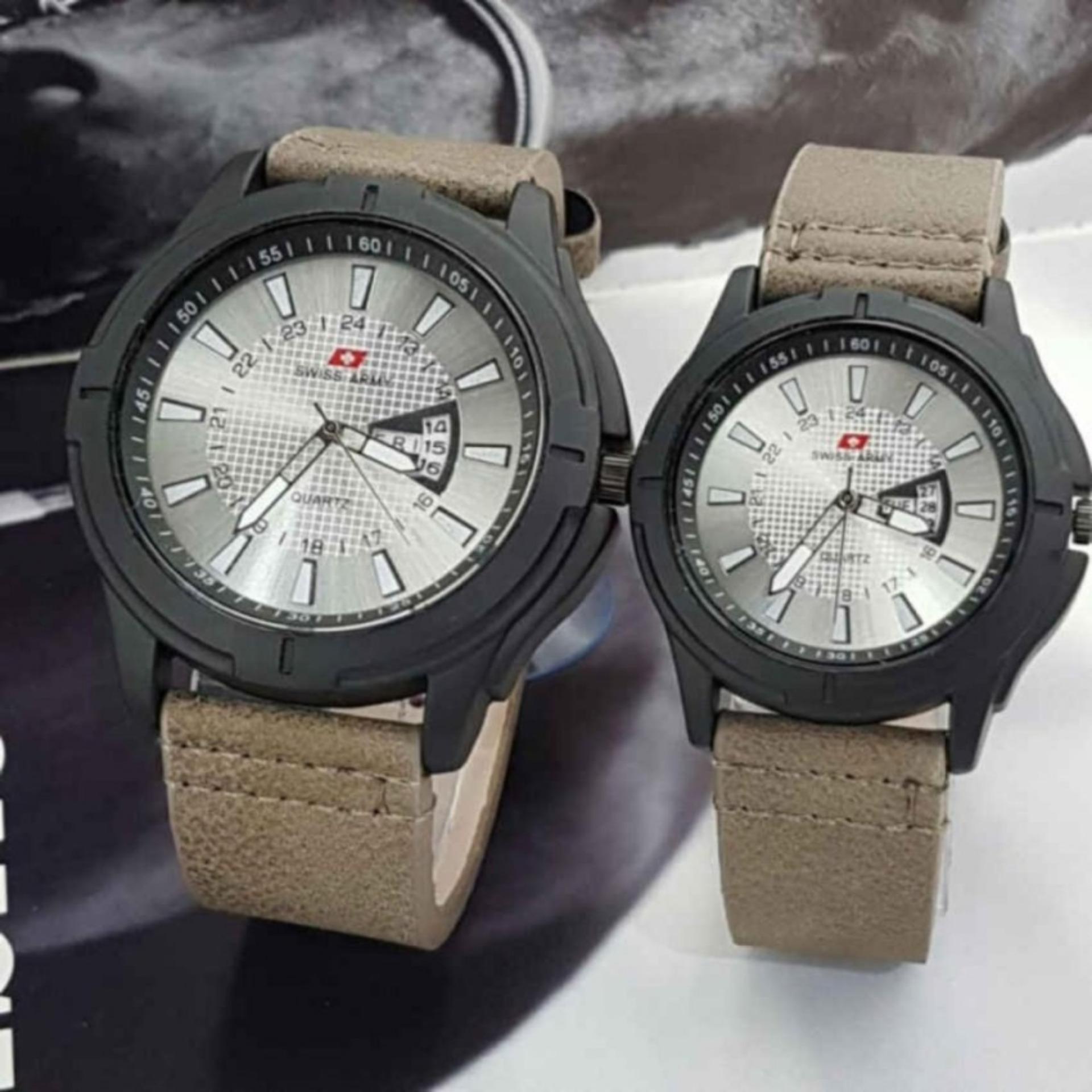 Swiss Army - Jam Tangan Couple - Strap Kulit - Tangggal Hari - SA-0445
