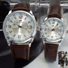Jual Swiss Army Jam Tangan Couple Tali Kulit Coklat Sa0134Ref657 Satu Set