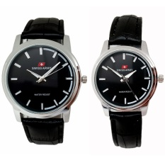 Spek Swiss Army Jam Tangan Couple Tali Kulit Hitam Sa1911 Swiss Army