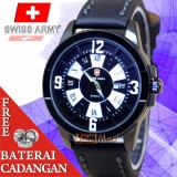 Swiss Army Jam Tangan Formal Pria Tali Kulit Body Stainless Steel Angka Romawi Original