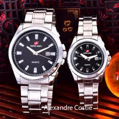 Review Swiss Army Jam Tangan Pria Wanita Body Silver Black Dial Stainless Steel Band Sa 5386Gl Sb Tgl Couple