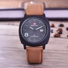Swiss Army Jam Tangan Pria - Body Black – Black Dial – Coklat Muda Leather -