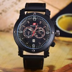 Swiss Army Jam Tangan Pria - Body Black - Black Dial - Hitam Leather - SA-3596C-BB-TGL