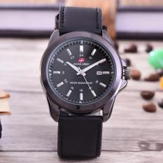 Swiss Army - Jam Tangan Pria - Body Black - Black Dial - Leather Band -SA-B-3821-HTM-TGL-Black Leather