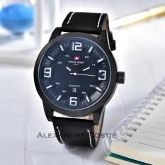 Swiss Army - Jam Tangan Pria - Body Black - Black/White Dial - Black Leather strap - SA-KLT-TGL-1190-BB/Putih-Kulit Hitam