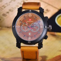 Harga Swiss Army Jam Tangan Pria Body Black Brown Dial Brown Leather Strap Sa 3596B Bc Tgl Branded