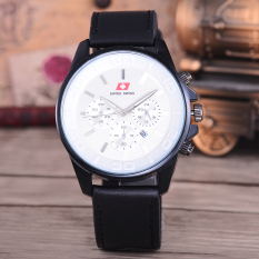 Swiss Swiss Jam Tangan Pria - Body Black – White Dial –  Black Leather Strap - SA-KLT-7870C-Putih