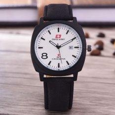 Swiss Army Jam Tangan Pria Body Black White Dial Black Leather Strap Sa 3595D Bw Tgl Kulit Hitam Promo Beli 1 Gratis 1