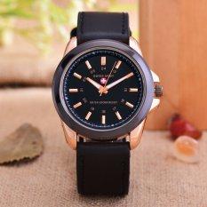 Swiss Army - Jam Tangan Pria - Body Rose Gold - Black Dial - Black Leather Strap - SA-RG-3821CC-Kulit hitam