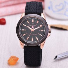 Swiss Army - Jam Tangan Pria - Body Rose Gold - Black Dial - Rubber Strap - Sa-RK-B-3821T-RGH