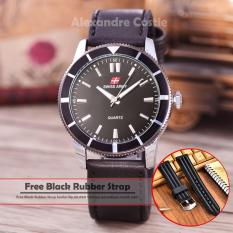 Harga Swiss Army Jam Tangan Pria Body Silver Black Dial Black Leather Sa 5701A Sb Black Leather Swiss Army Original