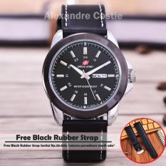 Obral Swiss Army Jam Tangan Pria Body Silver Black Dial Black Leather Benangputih Sa 3821Th D Tgl Hr Murah