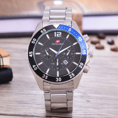 Review Swiss Army Jam Tangan Pria Body Silver Black Dial Sa Rt 7556C Sb Blue Tgl Stainless Stell Band Indonesia