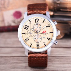 Review Terbaik Swiss Army Jam Tangan Pria Body Silver White Dial Brown Nylon Strap Sa Nyl 1165C Putih