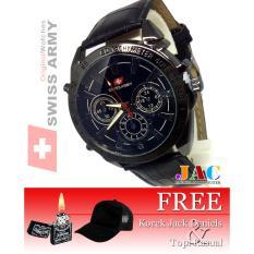 Swiss Army - Jam Tangan Pria - Desain Chrono - Tali Kulit [ Bonus Topi Polos Kasual Dan Jack Daniels ]