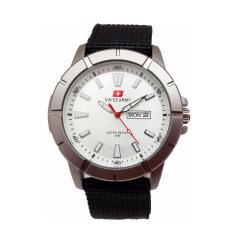Swiss Army Jam Tangan Pria Dial Putih Kanvas Hitam Sa 029 Mb Promo Beli 1 Gratis 1