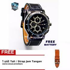 Swiss Army - Jam Tangan Pria - Hitam - Kulit - SA 9100-6 L (Free Tali Jam Tangan)