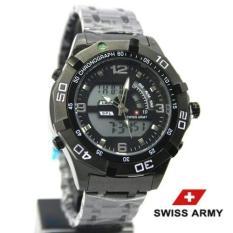 Harga Swiss Army Jam Tangan Pria Hitam Strap Stainless Double Time Origin