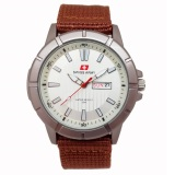 Swiss Army Jam Tangan Pria Kanvas Coklat Dial Putih Sa 029 N Promo Beli 1 Gratis 1