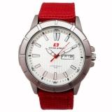 Swiss Army Jam Tangan Pria Kanvas Merah Dial Putih Sa 029 G Promo Beli 1 Gratis 1