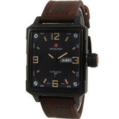 Jual Swiss Army Jam Tangan Pria Leather Cokelat Tua Sa4166 Di Bawah Harga