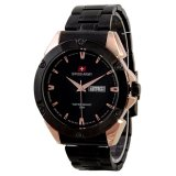Model Swiss Army Jam Tangan Pria Leather Stainlesstell Sa 2971H Gold Terbaru