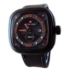 Jual Swiss Army Jam Tangan Pria Leather Strap Black Orange Sa 4096 Bo Original