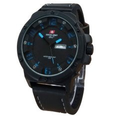Review Swiss Army Jam Tangan Pria Leather Strap Black Sa 1440 Black Blue
