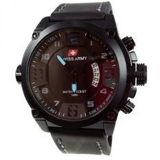 Review Swiss Army Jam Tangan Pria Leather Strap Black Sa 1446 Black Blue Terbaru