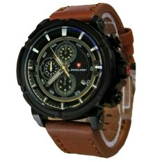 Beli Swiss Army Jam Tangan Pria Leather Strap Chronograph Sa 0975 Lb Cokelat Di Dki Jakarta