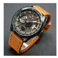 Spesifikasi Swiss Army Jam Tangan Pria Leather Strap Coklat Gold Sa 1109 C Brown Lengkap