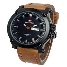 Harga Swiss Army Jam Tangan Pria Leather Strap Coklat Sa 1055 Light Brown Swiss Army Terbaik