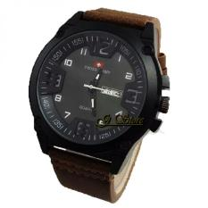 Harga Swiss Army Jam Tangan Pria Leather Strap Coklat Tua Sa 1550 Gs Asli Swiss Army