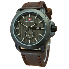 Promo Swiss Army Jam Tangan Pria Leather Strap Dark Brown Sa 1382 Dbw Murah