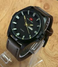 Cara Beli Swiss Army Jam Tangan Pria Leather Strap Sa 4050 Dark Brown Yellow