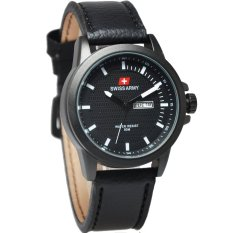 Jual Swiss Army Jam Tangan Pria Leather Strap Sa 4086 Black White Swiss Army Ori