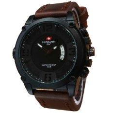 Beli Swiss Army Jam Tangan Pria Leather Strap Sa 4099 Dark Brown Yang Bagus