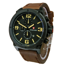 Diskon Swiss Army Jam Tangan Pria Leather Strap Sa 5138 Dby Cokelat Swiss Army
