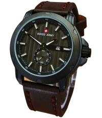 Swiss Army Jam Tangan Pria - Leather Strap - SA 8810DB - Putih