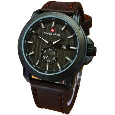 Diskon Swiss Army Jam Tangan Pria Leather Strap Sa 8810Db Putih