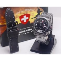 Swiss Army - Jam Tangan Pria - One Set - Bonus Tali Kulit Warna Hitam - Rantai Stainless Steel Keren Abis Fashion-Casual-Formal