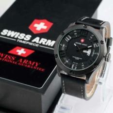 Jual Swiss Army Jam Tangan Pria Original Strap Kulit Hitam L3M3P3 Online