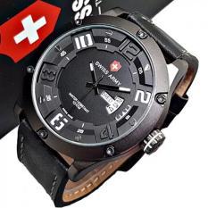 Swiss Army - Jam Tangan Pria Original - Strap Kulit - Hitam - SA6381 BlacWhite