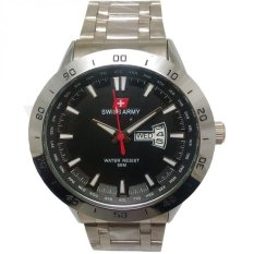 Promo Toko Swiss Army Jam Tangan Pria Silver Dial Hitam Strap Stainless Sa5071Mb